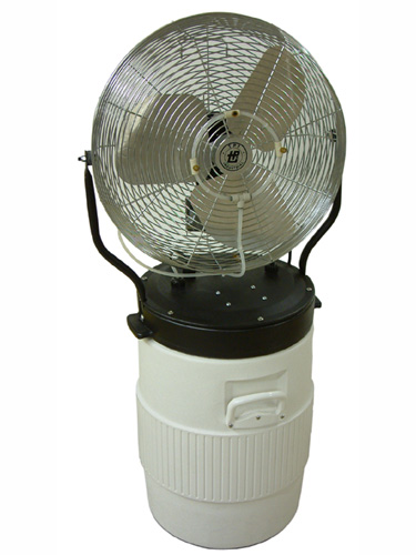 This portable misting fan fits on an Igloo 10 gallon round water cooler that is included in the price.