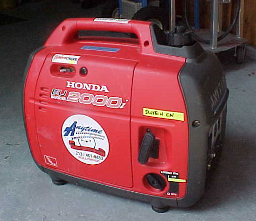 Anytime Rentals carries a large inventory of various capacity generators. We are stocked to handle all your power requirements for your next location, party or special event. Pictured above is our Ultra Quiet Honda EU2000 Watt Generator.