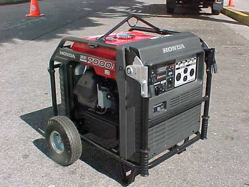 Anytime Rentals carries a large inventory of various capacity generators. We are stocked to handle all your power requirements for your next location, party or special event. Pictured above is our 7000 Watt Ultra Quiet Honda Generator.